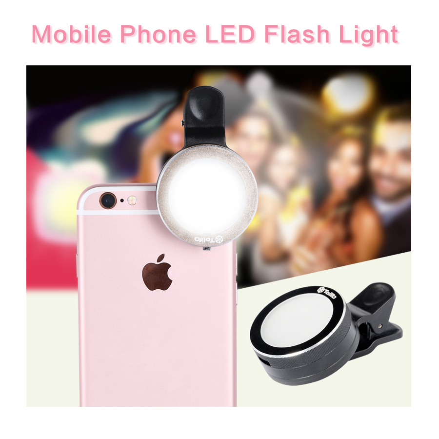 Mobile Phone LED Flash Light Beauty Selfie Ring Flashlight with 6 LED Adjustable Fill light for iPhone Samsung Sony HTC Camera(China (Mainland))