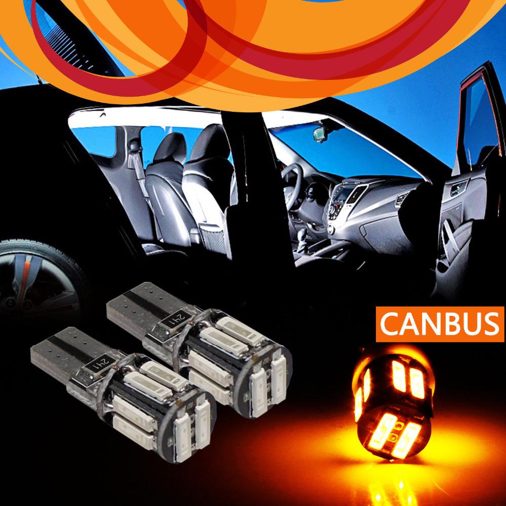 Гаджет  4x 7020 10SMD Auto Car T10 W5W Canbus Error Free Car Parking Backup Tail Turn Signal Light Bulbs Amber Yellow Light New None Автомобили и Мотоциклы