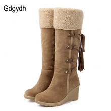 Gdgydh Fashion Scrub Plush Snow Boots Women Wedges Knee-high Slip-resistant Boots Thermal Female Cotton-padded Shoes Warm Winter(China (Mainland))