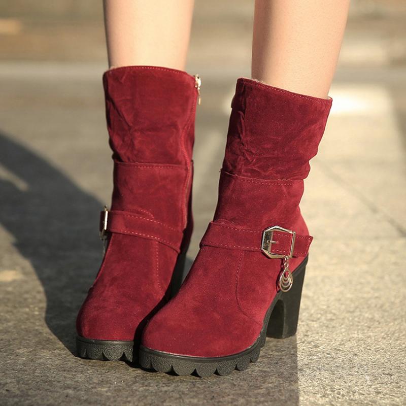 New 2015 winter boots Women Boots High Heel Round Toe Ladies Shoes Zipper Women Platform Boots Add wool warm Ladies Boots S019
