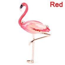 Paduan Merah Ungu Biru Enamel Burung Flamingo Bros Wanita Pria Logam Hewan Bros Pin Perjamuan Brocade Hadiah Syal(China)