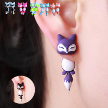New Fashion Yellow Purple Black Animal Cute Fox Stud Earrings For Women Jewelry Gifts 0418(China (Mainland))