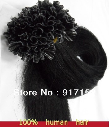Pre-bonded U/Nail tip REMY hair 100'S/BAG/LOT 50Gram Black color 1B# 18 inch20 inch22' human extension - Cathy's beauty store
