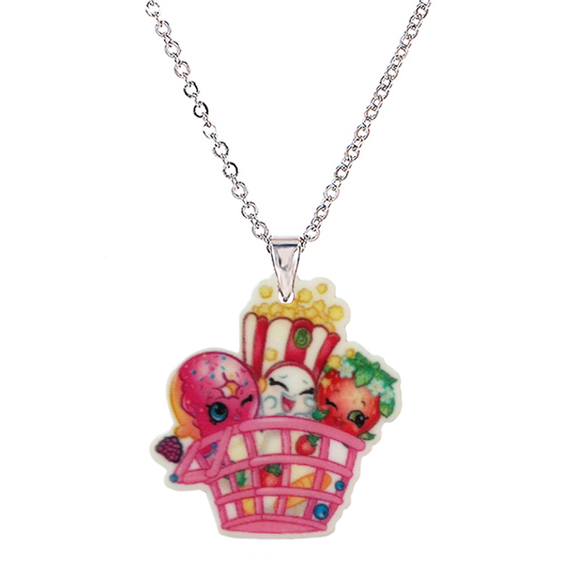 2016 Fashion Cute Acrylic Cartoon Shopping Basket Pendant Necklace for Little Girls Silver Chain Children's Necklaces & Pendants(China (Mainland))