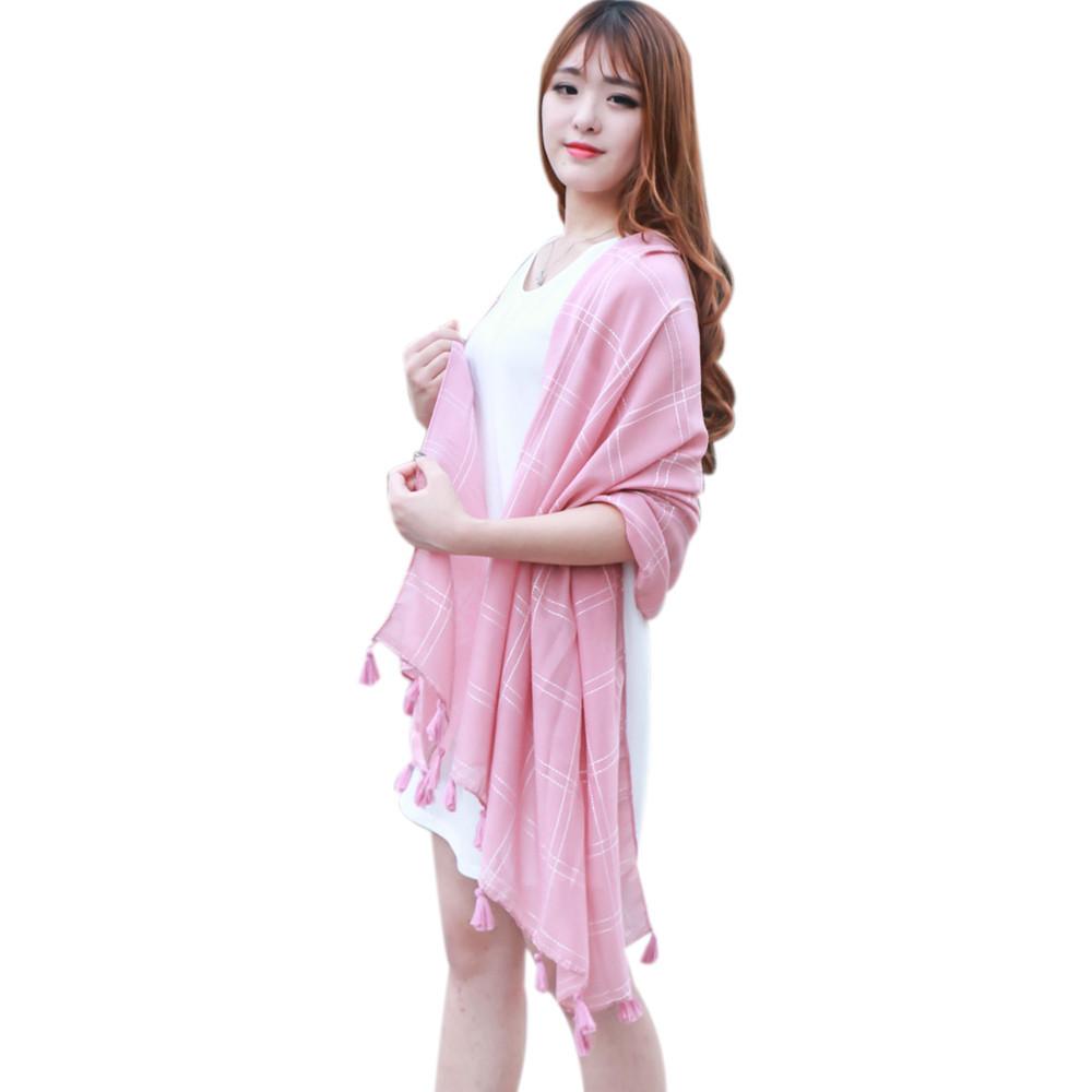 KLV Fashion Plaid Fringed Scarf Shawl winter autumn scarf women high winter ladies scarf