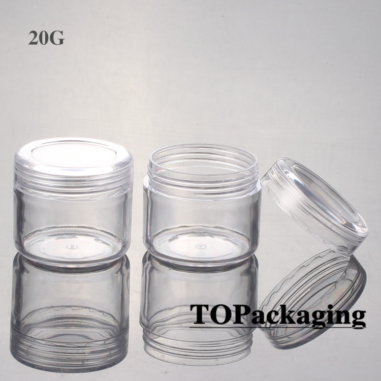 100PCS/LOT-20G Cream Jars,Clear Plastic Makeup Sub-bottling,Empty Cosmetic Container,Small Sample Mask Canister,Nail Art Box(China (Mainland))