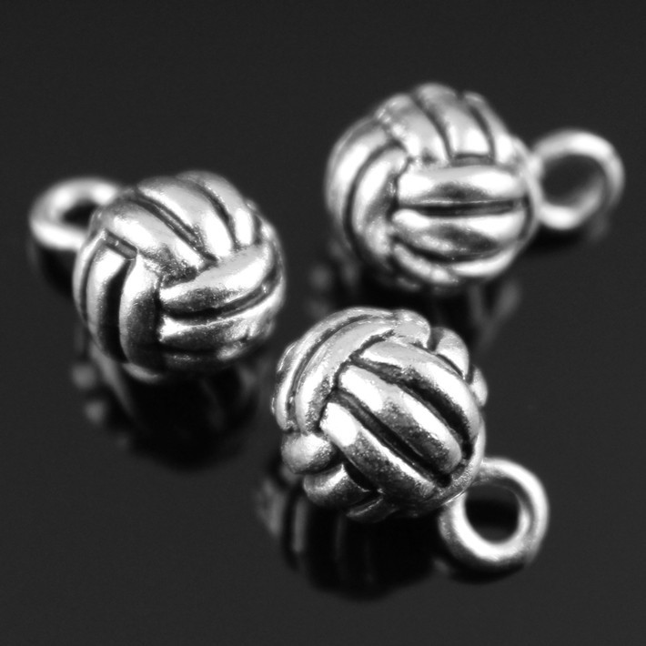 2014 New Fashion Hot Sale 10pcs 10mm 3d volleyball charms antique Silver tone Pendant B10404.jpg(China (Mainland))