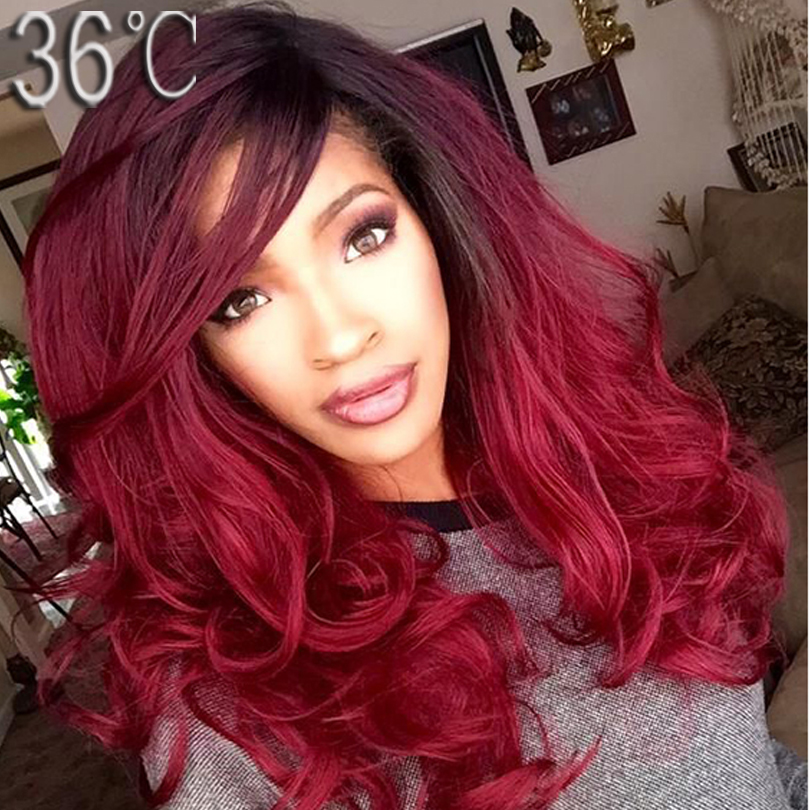 1b 99j Ombre Human Hair Wig Burgundy Two Tone 1B 99J Red Color Glueless Lace Front/Full Lace Wig Ombre Virgin Brazilian Hair Wig(China (Mainland))
