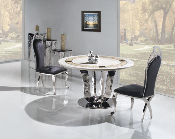 High quality Marble top Dining Table with stainless steel frame modern design round dining room furniture home furniture TH283(China (Mainland))