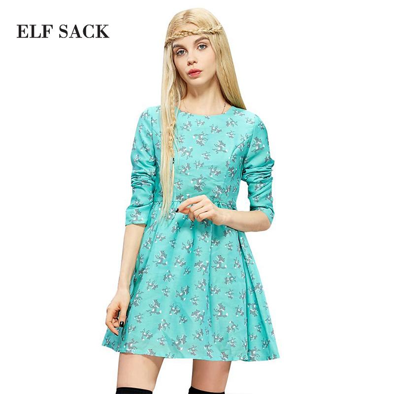 ELF SACK Women Autumn Round Collar Long Sleeve Pleated Dress 2015 New European Style Fashion Dresses Free Shipping(China (Mainland))