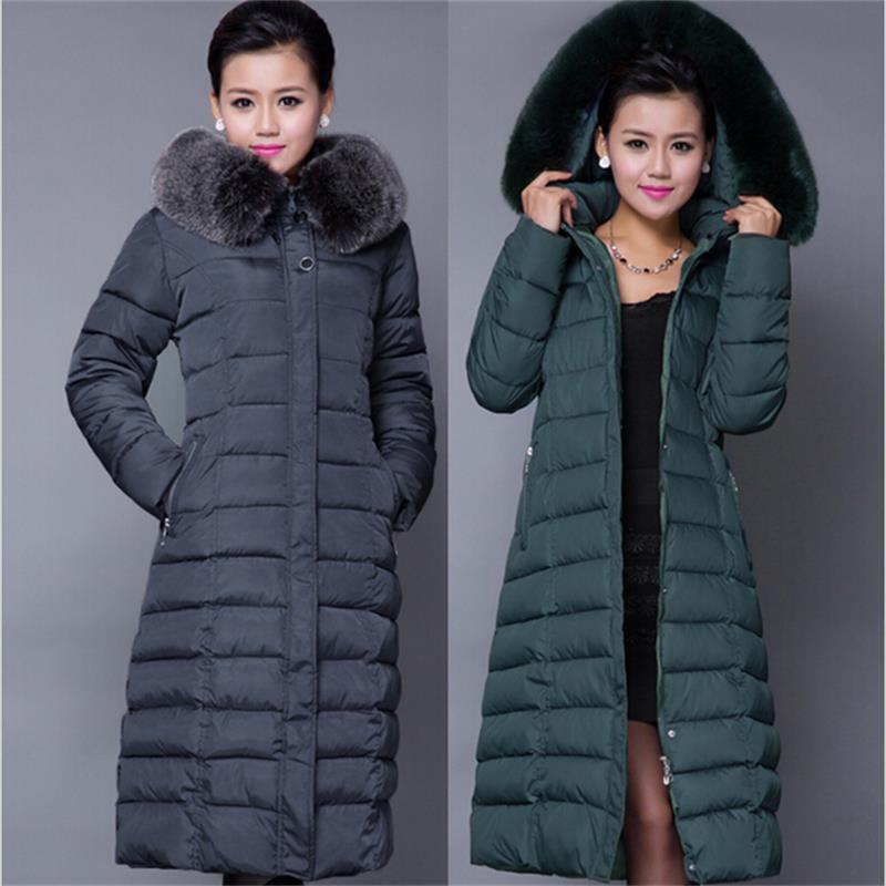 NEW Winter Jacket Women 2016 Winter Coat Women Plus Size 5XL Long Parka Luxury Fur Cotton-Padded Down Coats Women Wadded Jackets(China (Mainland))