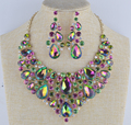 Women s statement jewelry sets bridal wedding necklace earrings set green AB colorful Rhinestone Jewelry for