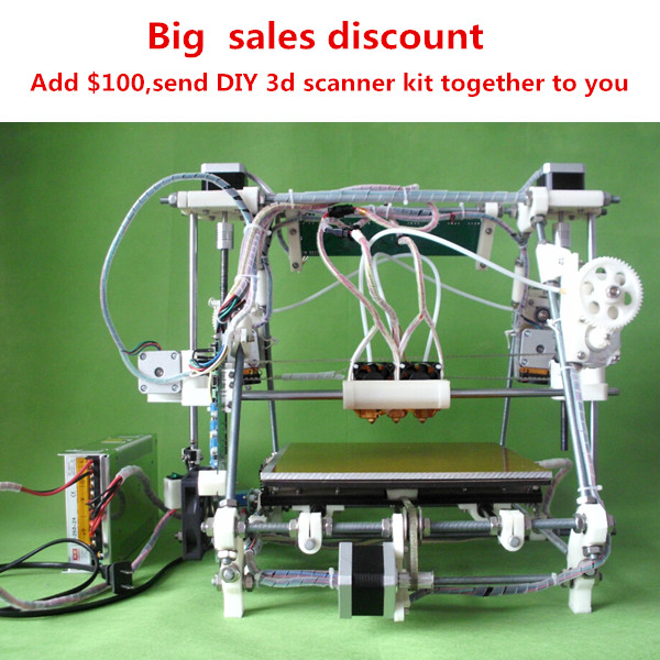 He3D triclor2 reprap mendel multicolor tricolor triple nozzle 3d printer kit diy open source bigger size