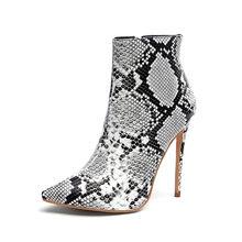 Seksi Yılan Derisi yarım çizmeler Kadın Ayakkabı Sivri Burun Yüksek Topuklu Zip Ayak Ayakkabı Botas Mujer Bottine Femme Pençeleri hauts 35(China)