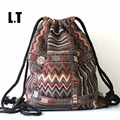 2017 Women Vintage Backpack Female Gypsy Bohemian Boho Chic Aztec Folk Tribal Ethnic Fabric Brown String