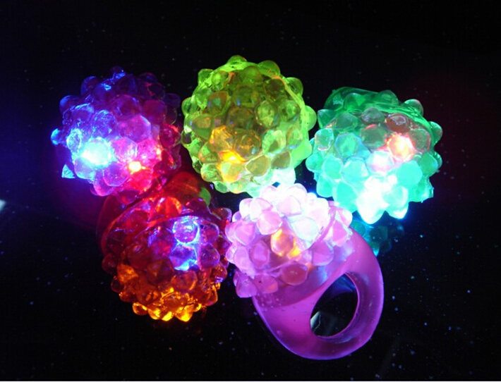 50pcs/lot LED Light Strawberry Flashing Finger Ring, Elastic Rubber Ring, Event Party Supplies Glow Toys(China (Mainland))