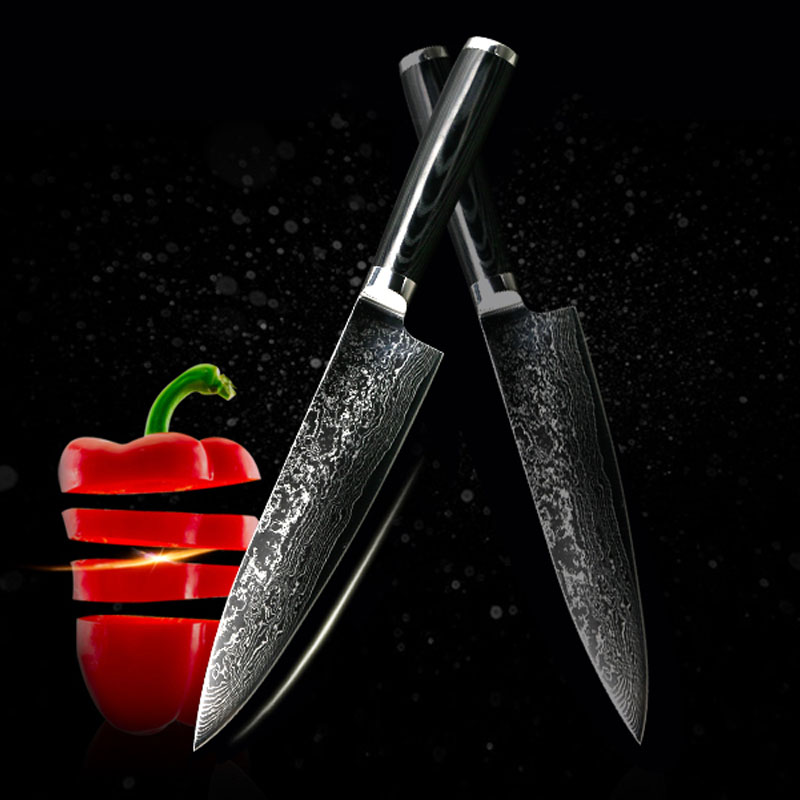 findking new vg10 handle damascus knife 8 inch chef knife 71 layers damascus steel kitchen. Black Bedroom Furniture Sets. Home Design Ideas