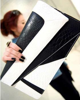 Новинка женщины европейский белый и черный лоскутная клатч одного сумка мешочки сако тело через мешок Bolsos bolsas
