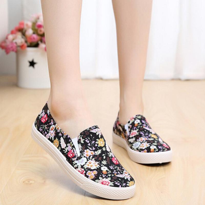 Aliexpress.com Comprar Zapatos de Mujer 2016 Del Verano de Los Holgazanes de Lona planos de Las Señoras Resbalón En Florales Alpargatas Pisos Sapatos