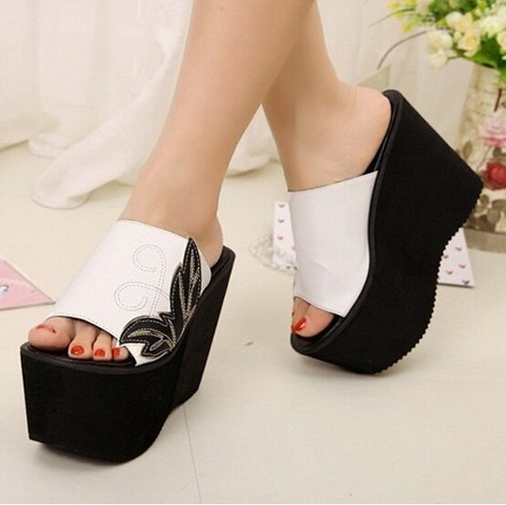 New 2015 Summer Women Wedge Sandals Rome Casual Fashion Platforms Black/White High Heels Open Toe Shoes Women Pumps,Size 35-39