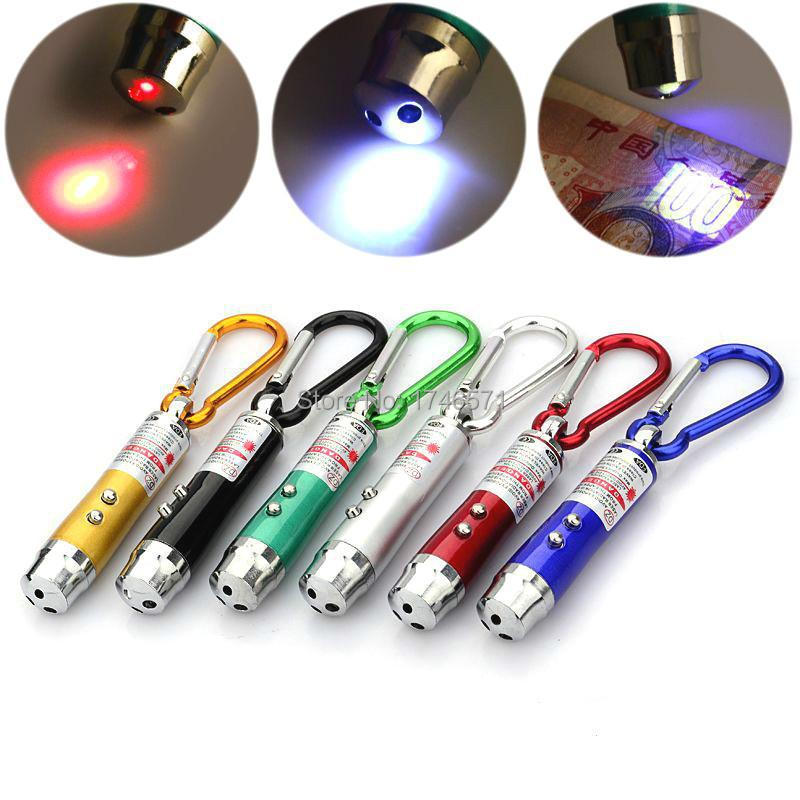 Free Shipping! New Arrival Fashion 1PC 3 in 1 Mini Red Laser Pointer 2 LED Flashlight UV Torch With Keychain Cash-Check Function(China (Mainland))