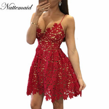 Buy 2016 New Arrival Lace Dress Back Zipper Spaghetti Strap Dress Split Hem Sexy Backless Floral Lace White Red Lace Dresses for $18.00 in AliExpress store