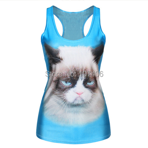 EAST KNITTING New arrive blue color camisole cat head printed casual tank top free shipping F146(China (Mainland))