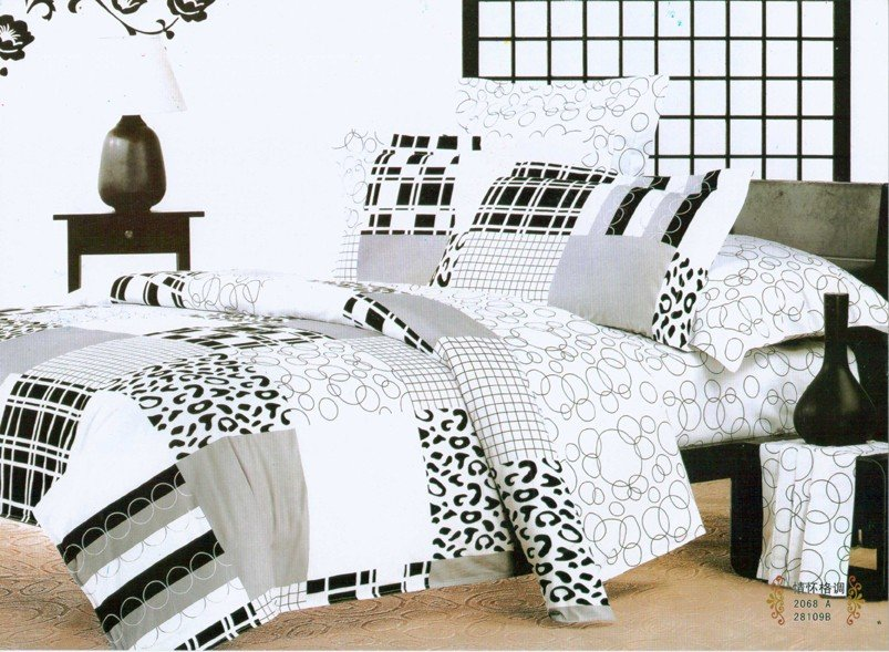 Hot Fashion New Beautiful 100% Cotton 4pc Doona Duvet QUILT Cover Set bedding set Queen / King size white & black Art 2(China (Mainland))