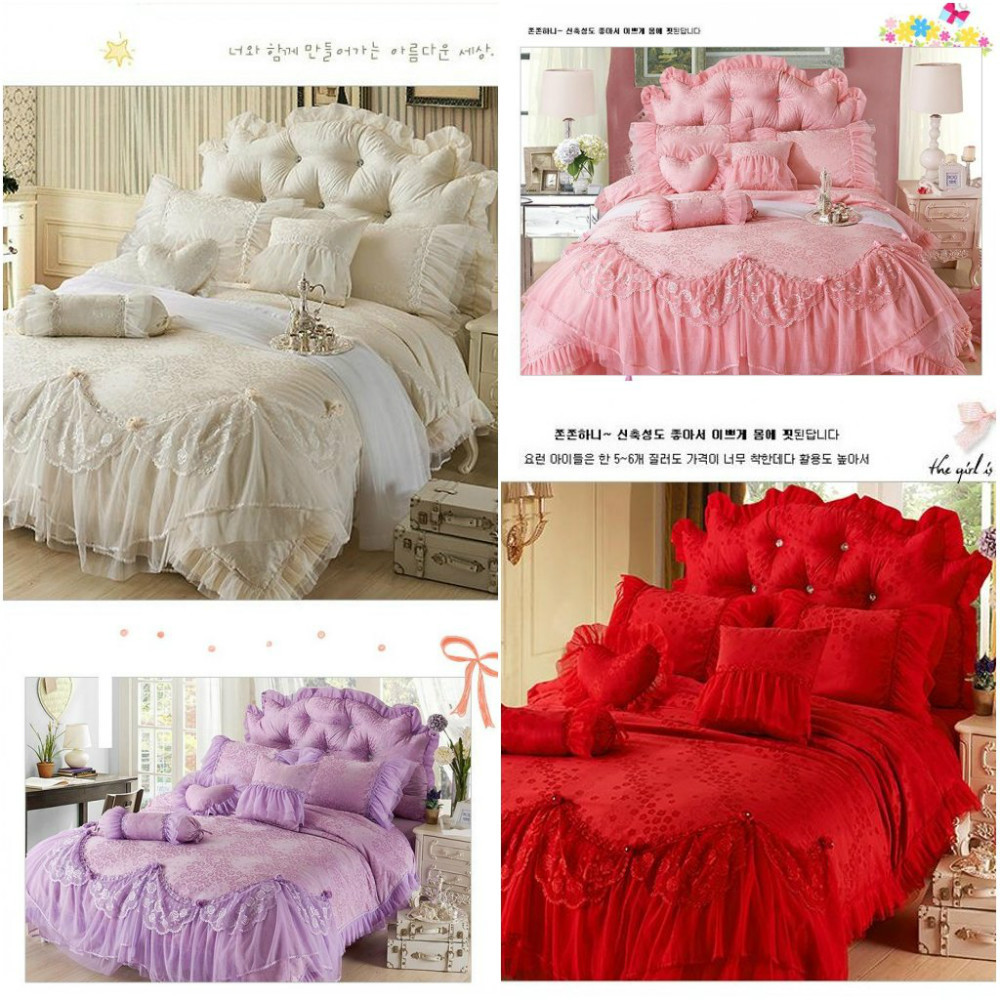 Noble Palace Lace Bedclothes Princess Bedding Sets King Queen 4pcs Jacquard Comforter/duvet Cover Ruffles Bed Skirt Sheet Cotton(China (Mainland))