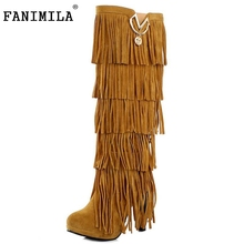 Plus size 32-43 New Flock Winter Fur Women boots High heels Knee Fringe Tassels Fashion Black Brown Red Yellow Beige Punk - Shop1267192 Store store