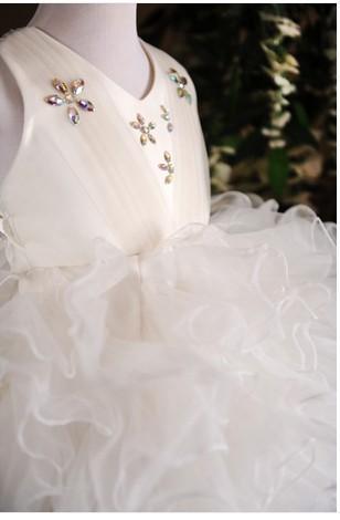Скидки на ДЕТСКИЕ WOW Детские Одежды 1 Лет День Рождения, Белый/Слоновая Кость Крещение Платье Младенца, младенческой Принцесса Цветок Платье для свадьба 8041