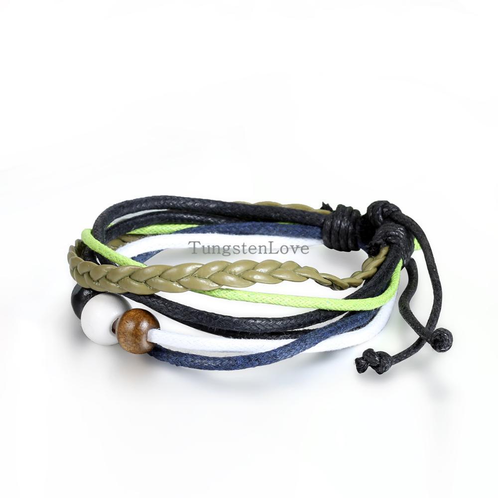 20cm Vintage Ethnic style Men Women Wooden Beads Multilayer Leather Bracelet Cuff Braided Bangle Wholesale Adjustable(China (Mainland))