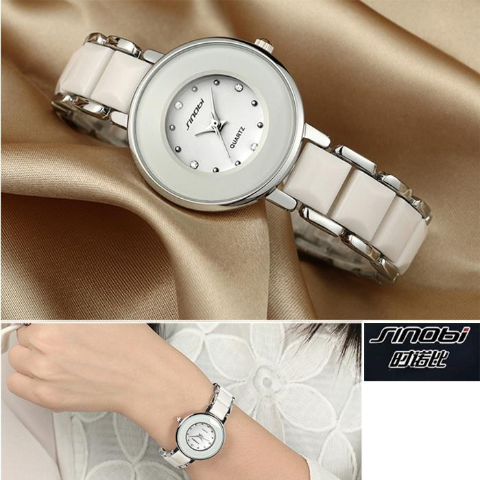 SINOBI Brand Women's Watch Imitated Ceramic Ladies Luxury Bracelet Watches with Fine Steel Strap(China (Mainland))