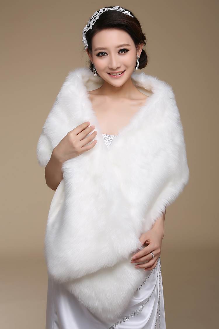 Women winter long bridal faux fur shawl bridal wraps warm for Winter shawls for wedding dresses