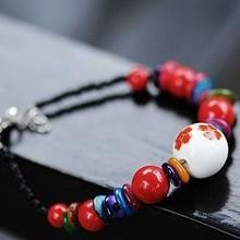 Wholesale Tibetan Charm Ceramics Natural Coral Beads Shambhala Bracelets Women Gift Handmade National wind Accessories(China (Mainland))