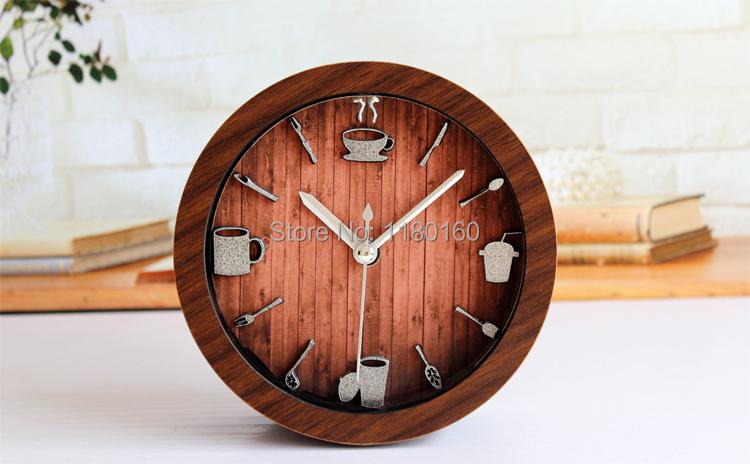 Casual dining utensils metallic retro style wooden garden table alarm clock,fashion creative desktop bell watch,home decorations(China (Mainland))