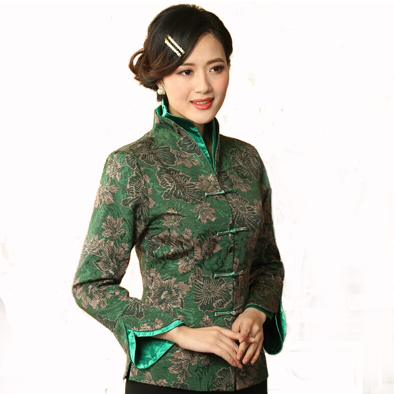 Hot Sale Green Chinese Women Cotton Coat Traditional Tang Suit Tops Elegant Flower Jacket Overcoat Size S M L XL XXL XXXL T042(China (Mainland))