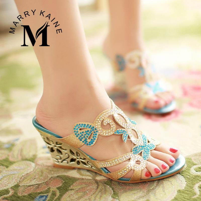 2015 Flower Cutout Wedges Summer Shoes Big Size 34-43 Fashion Women Rhinestone Sandals High Heels Flip Flops Wedges Shoe(China (Mainland))