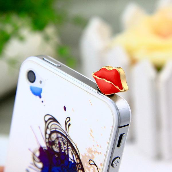 Fashion Style Flame 4 mobile phone sexy red lips dust plug for apple iphone4 s for SAMSUNG for htc earplugs(China (Mainland))