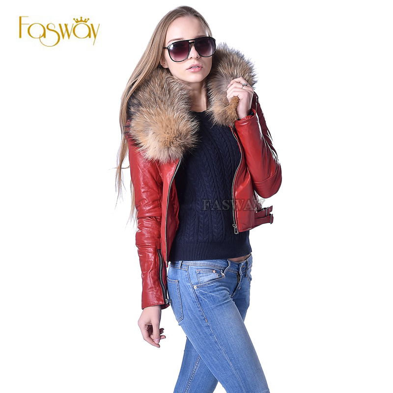 Factory Women Quilted Leather Jacket Genuine Sheepskin Raccoon Fur Collar Yellow Black Red 3 Colors Slim Short Coat Winter ZH128(China (Mainland))