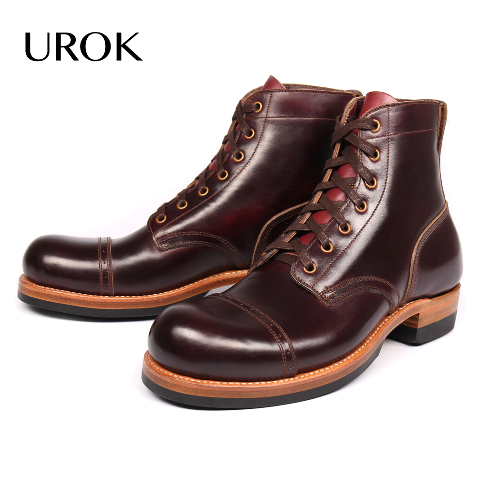 UROK Summer Men Ankle Boots Full Grain Leather Cap Toe Platform Military Boots Luxury Lace-up Handmade Goodyear Brown Men Shoes(China (Mainland))