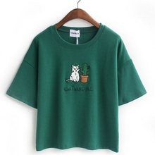 Embroidery Cat Cactus casual t shirt for Women cotton t-shirt short loose style tops hot tee 4color JA22 free shipping(China (Mainland))