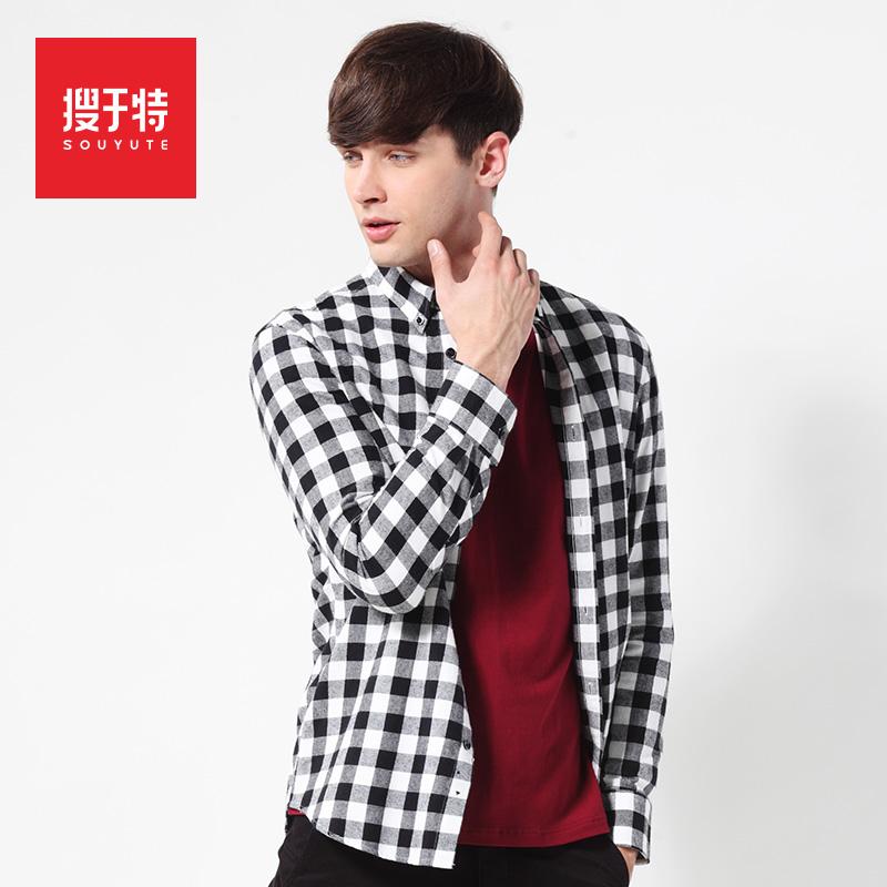 2014 autumn long-sleeve plaid shirt male 100% cotton sanded slim shirt male plaid shirt