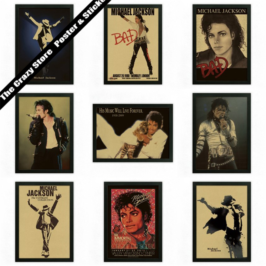 Michael Jackson vintage poster rock music pop king posters kraft paper decorative wall sticker(China (Mainland))