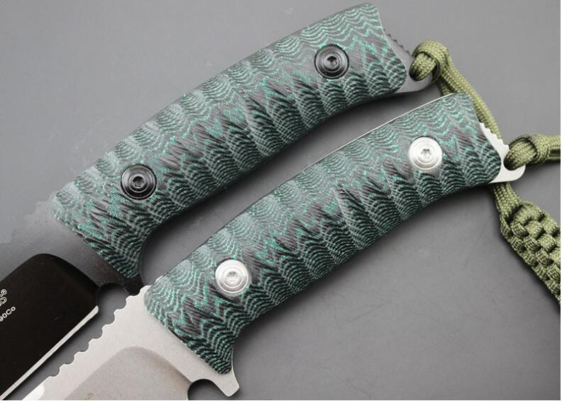 Buy High-end D2 fixed  Blade Dark green mika tower handle tactical hunting knife  outdoors camping survive knives & Leather sheath cheap