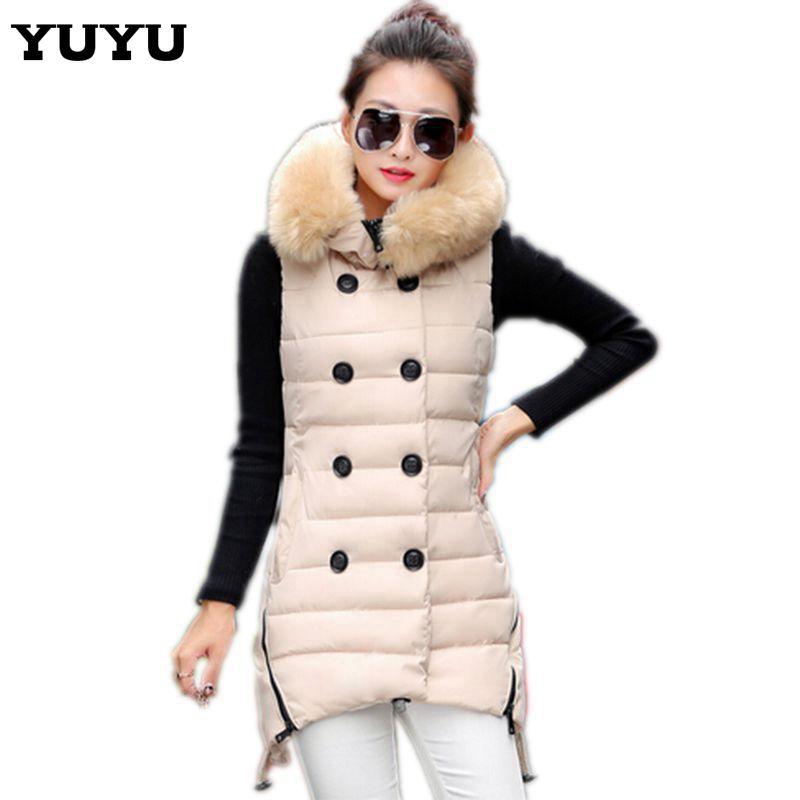2015 длинный жилет женщин осень / зима мода хлопок меховой капюшон двубортный теплый пуховик жилет женский и верхняя одежда CC2191S