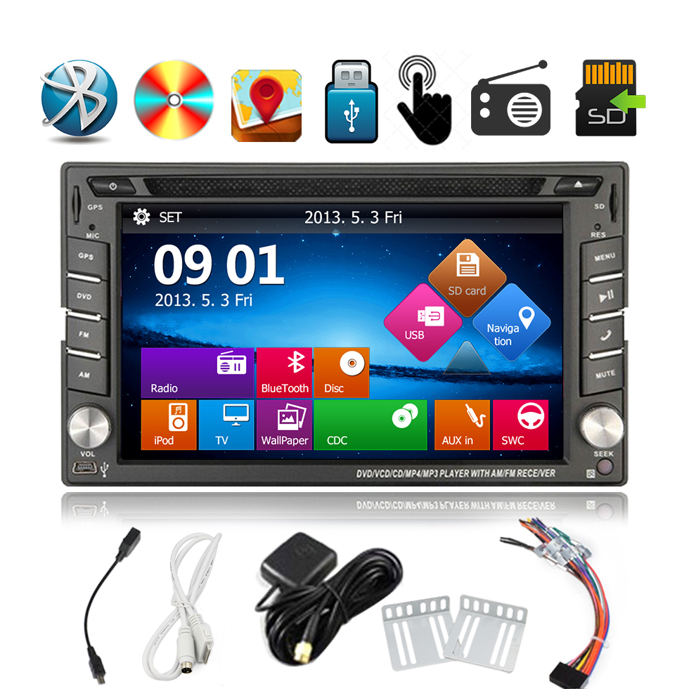Double 2Din Car GPS Navigation headunit Auto DVD Radio Player 6.2inch GPS Touch Bluetooth iPodCar radio Stereo+ Cam(China (Mainland))