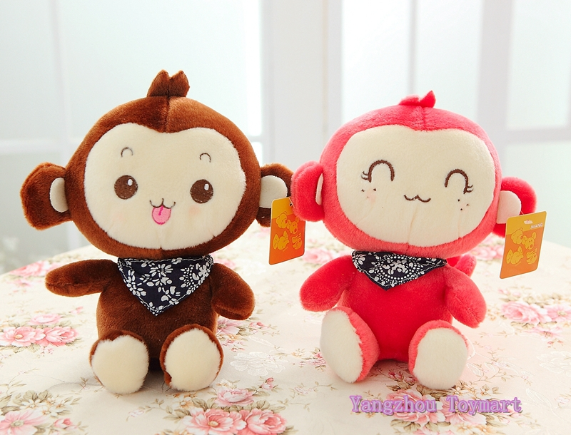 Red and Coffee Small Stuffed Monkey Toys Factory Direct Selling Cheap Plush Baby Monkey for Kids(China (Mainland))