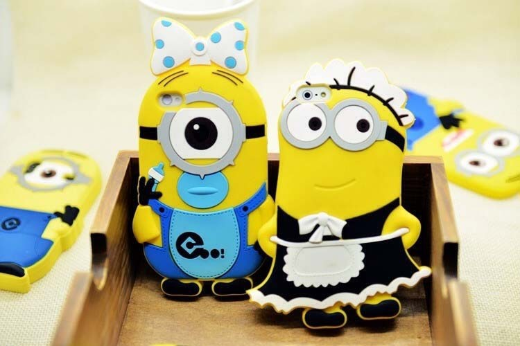 2014 Lovely 3D Cute Cartoon Despicable boy girl Yellow Minion Soft Silicone Back Case Iphone 4 5 4S 5S 5G - Ostar Co., Ltd store