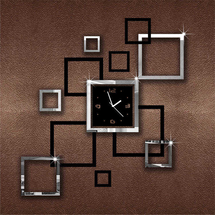 Silver&Black Album Clock wall clock mirror clock wall watch for gift and modern home decoration !!(China (Mainland))